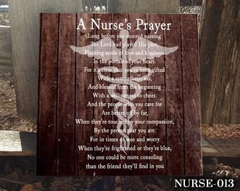 NURSE: Sign for Nurse, Occupational Sign, Gift for Nurse, Home Decor, Sign for Graduation, Graduating Nurse, Nurse's Prayer, Decor