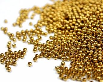 2.4 mm Round Brass Beads 1000 pcs - Raw Brass Beads