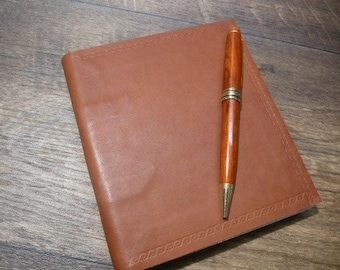Small Leather Notebook, hardcover, brown calfskin