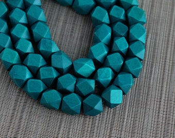 15mm Teal Blue Geometric Polygon Wood Beads - Dyed and Waxed - 15 inch strand