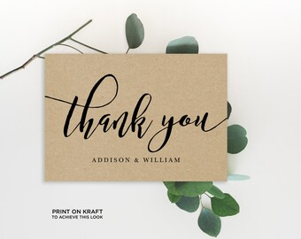 Thank You Folded Card Editable Template | Thank You Card, Hand Lettered, Calligraphy Kraft | Wedding  5x3.5"