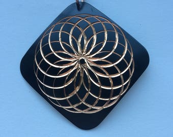 Beautiful Geometric Copper Enamel Pendant Vintage