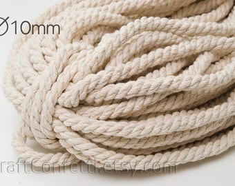 Nautical twisted rope 10mm Natural color cotton cord Beige cotton rope Cream cotton rope Decoration rope Nautical decor / 5 meters