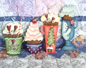 Coffee Cup Cupcake Ornaments design by Deb Antonick