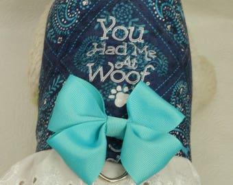 You Had Me At Wolf! Paisley Country Cowgirl Puppy Paw Theme Harness with Lace/Bow. All Items Are Custom Made for Your Cat, Ferret or Dog.