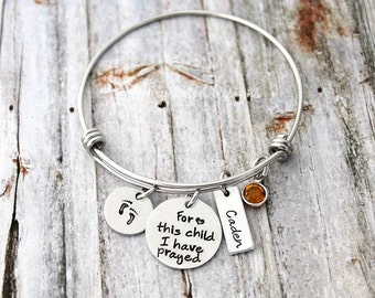 Wire Bangle - For This Child I Have Prayed - Charm Bracelet - Mother Bracelet - Grandmother - Grandma - Birthstone - Mom Jewelry