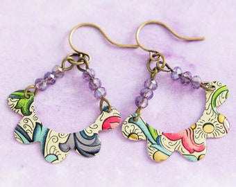 Colorful Vintage Tin Earrings with Scalloped Edges and Purple Beads, Recycled Jewelry, Antique Brass, Vintage Tin Jewelry