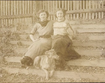c.1910s of Two Young Women With Their DOGS; Sisters, WEIMARANER & Little Dog; Mint Condition.