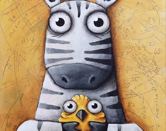 zebra and bird, Original Painting, Ivan Glock 70x50,