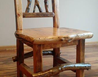 Rustic Chair, Wood Chair, Reclaimed Wood Chair, Dining Room Chair, Log Chair