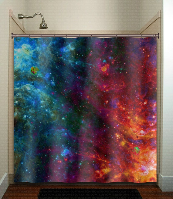 Fire Ice Nebula Planet Outer Space Galaxy Shower Curtain