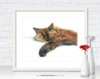 Calico Cat Painting, Calico Cat  Print, Cat Greeting Cards, Calico Cat  Watercolor, Cat Wall Decor, Cat Wall Art, Brina