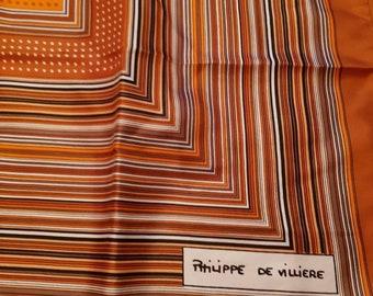 Beautiful striped vintage silk headscarf. Philippe De Villiere.