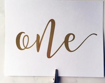 Gold, Silver or Rose Gold Table Numbers - Wedding Table Markers and Decor