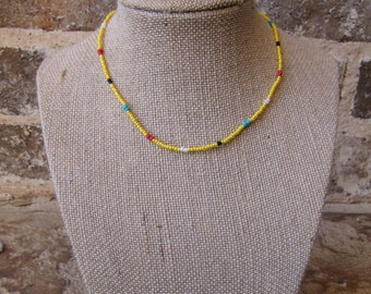 beaded yellow and multi colored choker