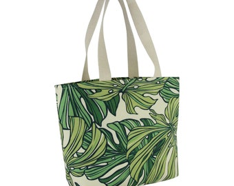 Small Shopping Tote Deluxe-Green Monstera, Waterproof lined, Made in Hawaii