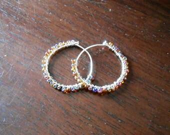 Glass Bead Criss-Cross Wrapped Hoop Earrings