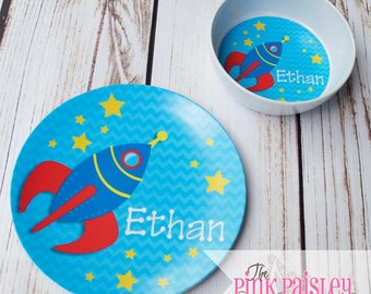 Personalized Kids Plate | Rocket Ship Melamine Dinner Plate and bowl dinner set | Kids Dinnerware | Birthday Gift