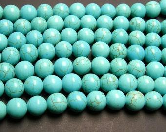 howlite turquoise 10mm round beads full strand 40 beads