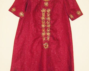 Vintage Uzbek Dress Burgundy Bordo Gold Embroidery