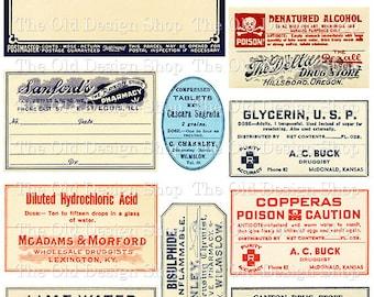 Vintage Medical Pharmacy Poison Labels Set 1 Printable Digital Collage Sheet