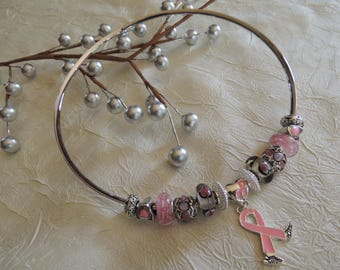 BREAST CANCER AWARENESS ...Silver Charm Choker... by TLCcharms