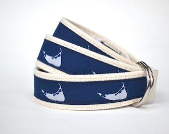 Nantucket Belt - Mens Canvas Belt - Nautical Belt - Nautical Gift -  Preppy Belt - Adult Canvas Belt