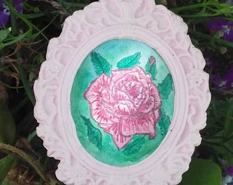 Pink Rose Miniature Dollhouse Painting