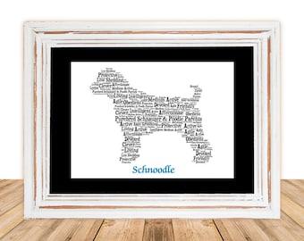 Schnoodle, Custom Schnoodle,  Schnoodle Art, Schnoodle Memorial, Custom, Personalize, Pet Gift, Print, Dog Art, Pet Memorial, Custom Dog