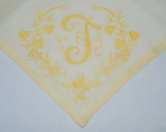 Vintage Pale Hanky With an Initial T - Handkerchief Hankie