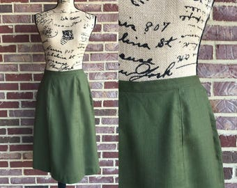 Vintage 1960s A line oilve green knee length skirt // 60s skirt by Century Proportioned Skirts // 60s mod skirt size small medium