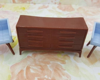 Marx  Imagination  Chairs ans Sideboard Dollhouse Toy Furniture  Hard Plastic Modern Living room