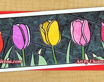 Multi-color Tulips Mosaic Greeting Card- Large Long Card- Any Occasion- Blank Card- Flower Card- Garden Card-Tulips Card- Summer Card-Art