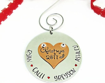 Personalized Christmas Tree Ornament | Hand Stamped Ornament | Christmas 2017 | Keepsake Ornament | Family Ornament | XMas Gift