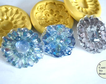 Isomalt brooch silicone mold set to make 9 wafer paper edible brooches for wedding cake bling or cupcake toppers. DIY sugar jewels and gems
