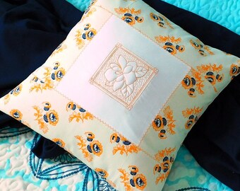 Embroidered Pillow Cover - Decorative Cushion - Pillow Case - Cushion Cover - Pillow Cover - Throw Pillow Cover - 16 X 16 Pillow Cover