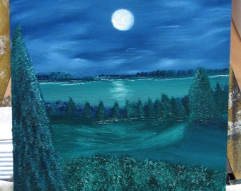 Oil Painting #5  Dreaming in blue's and green's