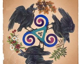 Raven Fey - Raven Triskele -  Pagan Wiccan Print - Brigid Ashwood