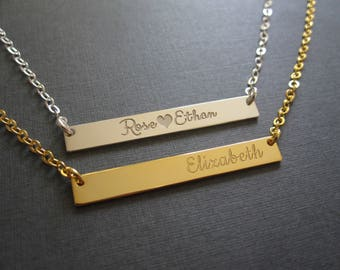 Personalized Engraved Name Bar Necklace - 4 Colors - Custom Name Necklace - Baby Name - Custom Name Gift - Gift for Women - Gift for Her