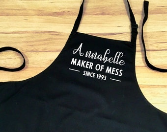 Personalised Apron Name Date Mess Maker Funny Gift Custom Adult Unisex Craft Food Kitchen Gift Teenager Cook
