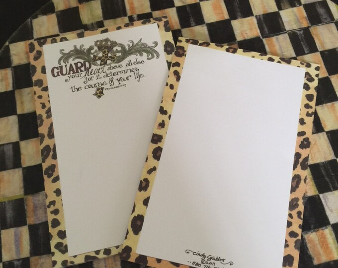 """Scripture Notepad--Proverbs 4:23 """"Guard your heart""""  Leopard, Cross & Crown, For His Glory by Cindy Grubb **FREE MATCHING BOOKMARK**, tablet"""