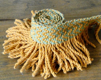 Avocado Green and Yellow Gold Vintage Fringe Trim - One Yard