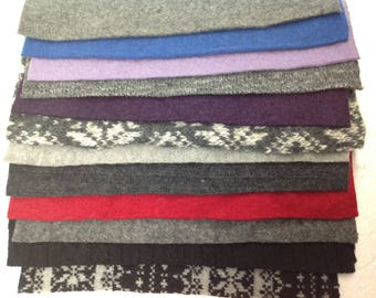 12 Upcycled Felted Sweater Pieces - 12 Pieces