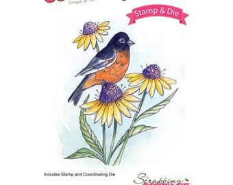 Cottage Cutz Stamp and Die Set - Oriole w/ blossoms