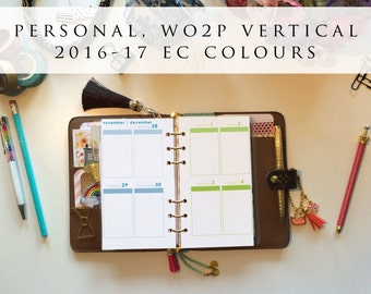 Personal planner inserts - week on 2 pages (WO2P), vertical, Mon-Sun, 2016/17 EC colours, pre-punched (PS.4)