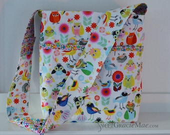 The Library Bag - Children's Book Tote Bag with Library Card Pocket, Owls and Birds - Ready to ship