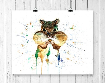 CHIPMUNK WALL ART, Woodland art, chipmunk art, watercolour chipmunk print,nursery art, woodland theme, nursery decor,baby gift,cottage drcor