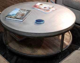 Industrial Round Zinc Coffee Table, Two Tier Table, Wood Furniture Rustic, Industrial Furniture, Zinc Wood Table Top, Urban Farmhouse Table