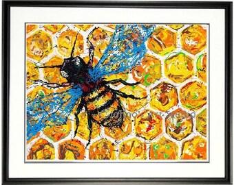 Save the Bees wall art, Honey Bee wall art, bee print, Bee wall art, Framed garden art, honeycomb, by Johno Prascak