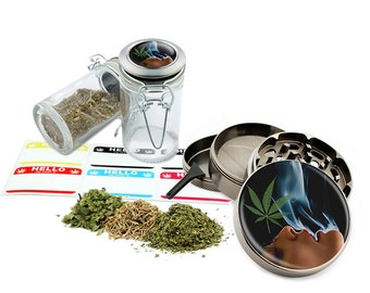 "Smoking - 2.5"" Zinc Alloy Grinder & 75ml Locking Top Glass Jar Combo Gift Set Item # G022015-023"